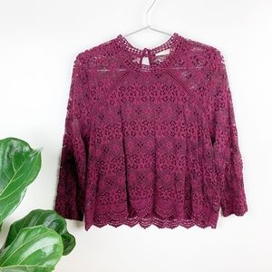 Sophie Rue Leighton Lace Top Burgundy Mock Neck S